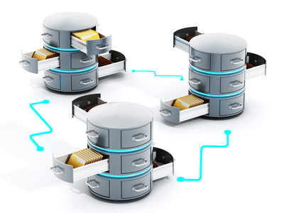 Connected data servers with open file racks. 3D illustration.